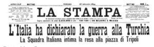 29 settembre 1911 La stampa -  dichiarazione guerra alla Turchia
